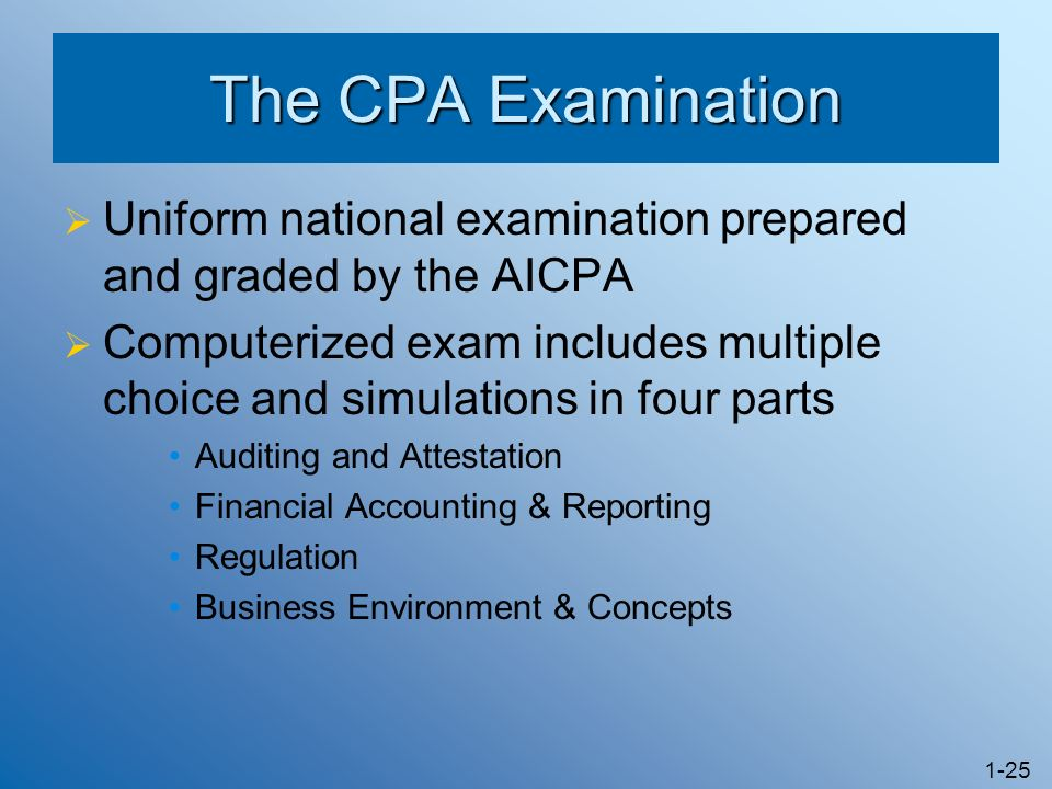 The CPA Examination Uniform national examination prepared and graded by the AICPA.