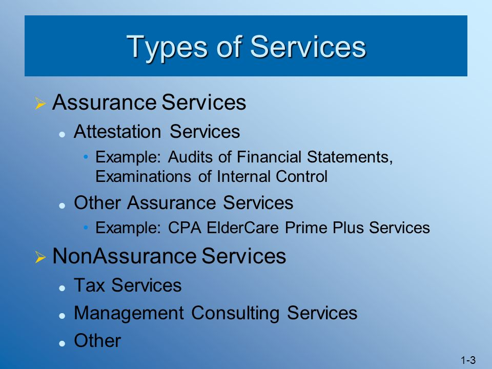 Types of Services Assurance Services NonAssurance Services