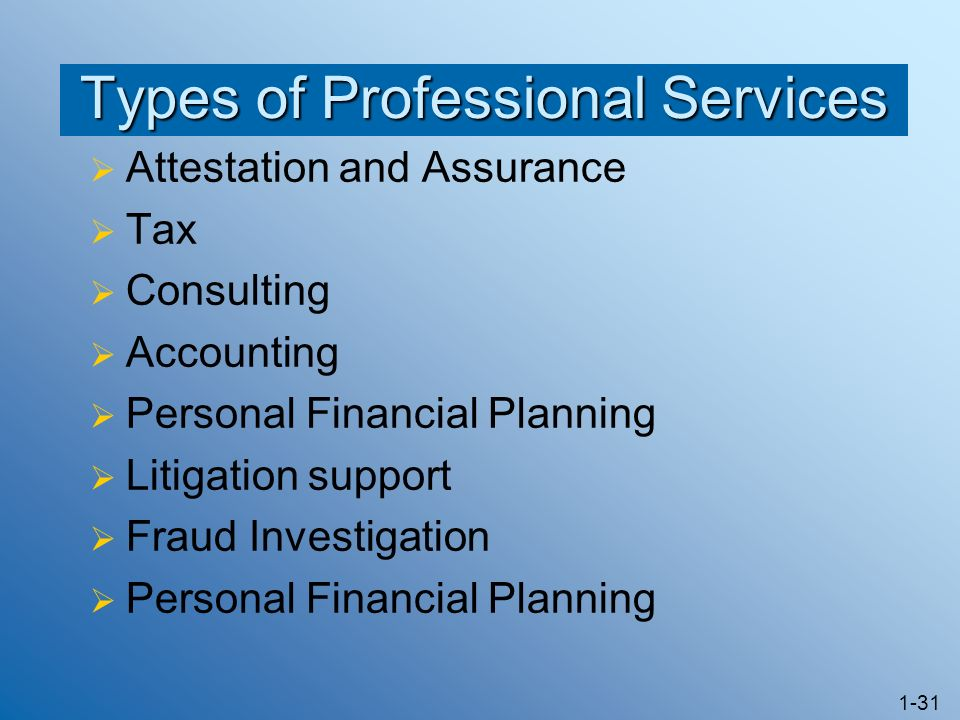 Types of Professional Services