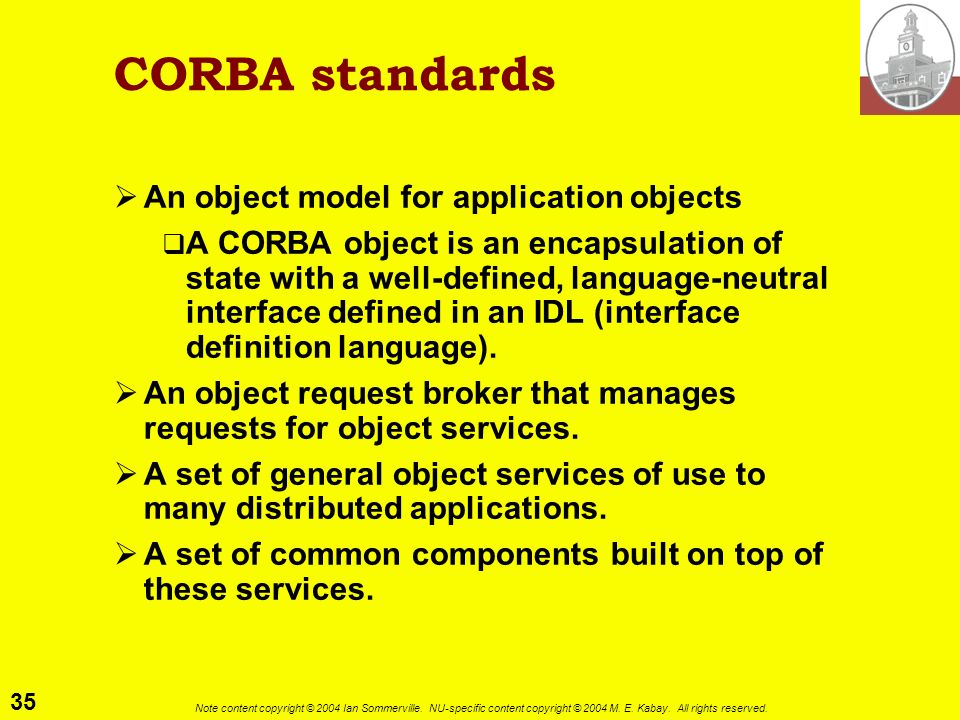 CORBA standards An object model for application objects