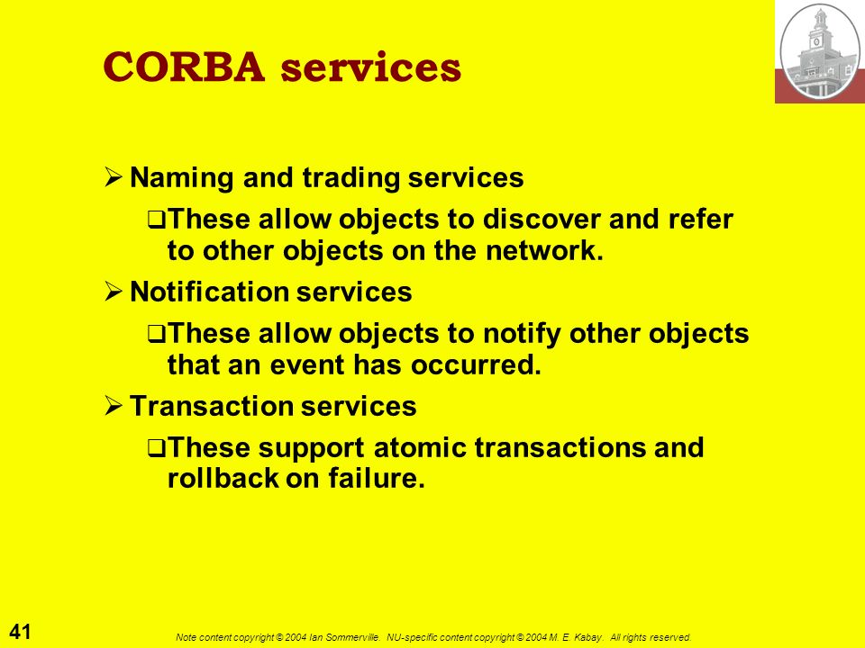 CORBA services Naming and trading services