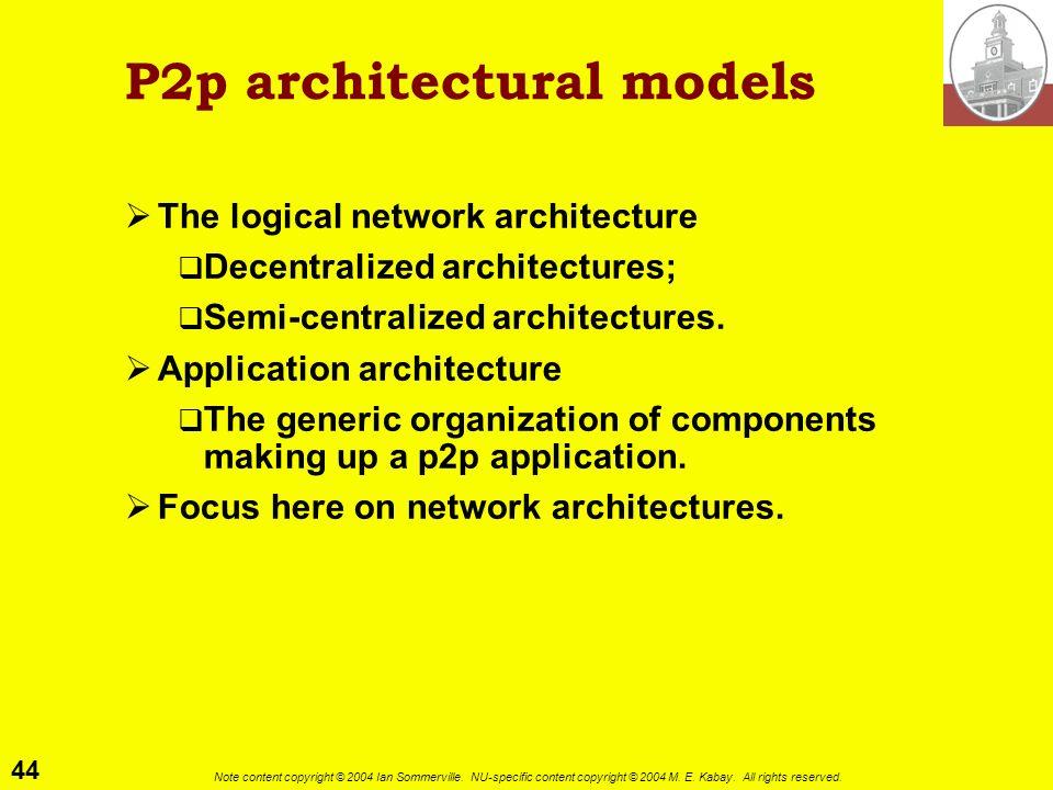 P2p architectural models