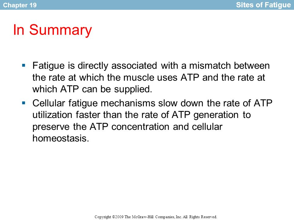 Sites of Fatigue In Summary.