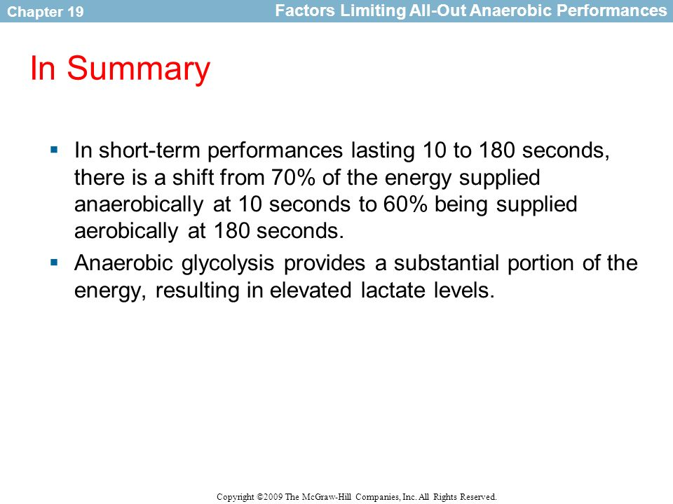 Factors Limiting All-Out Anaerobic Performances