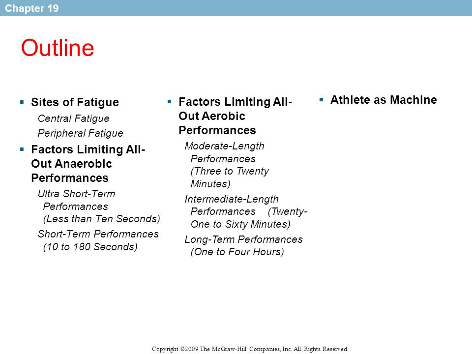 Outline Sites of Fatigue Factors Limiting All-Out Aerobic Performances