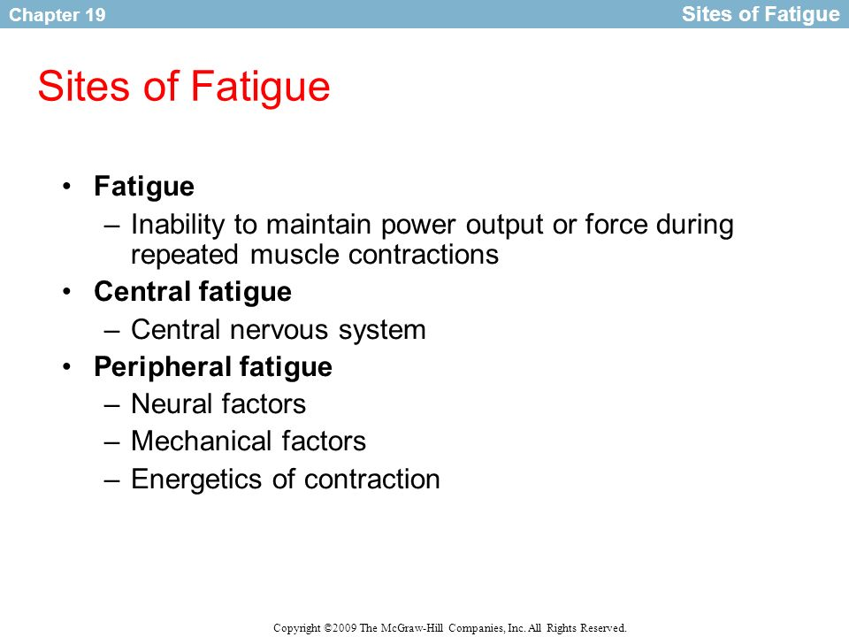 Sites of Fatigue Fatigue