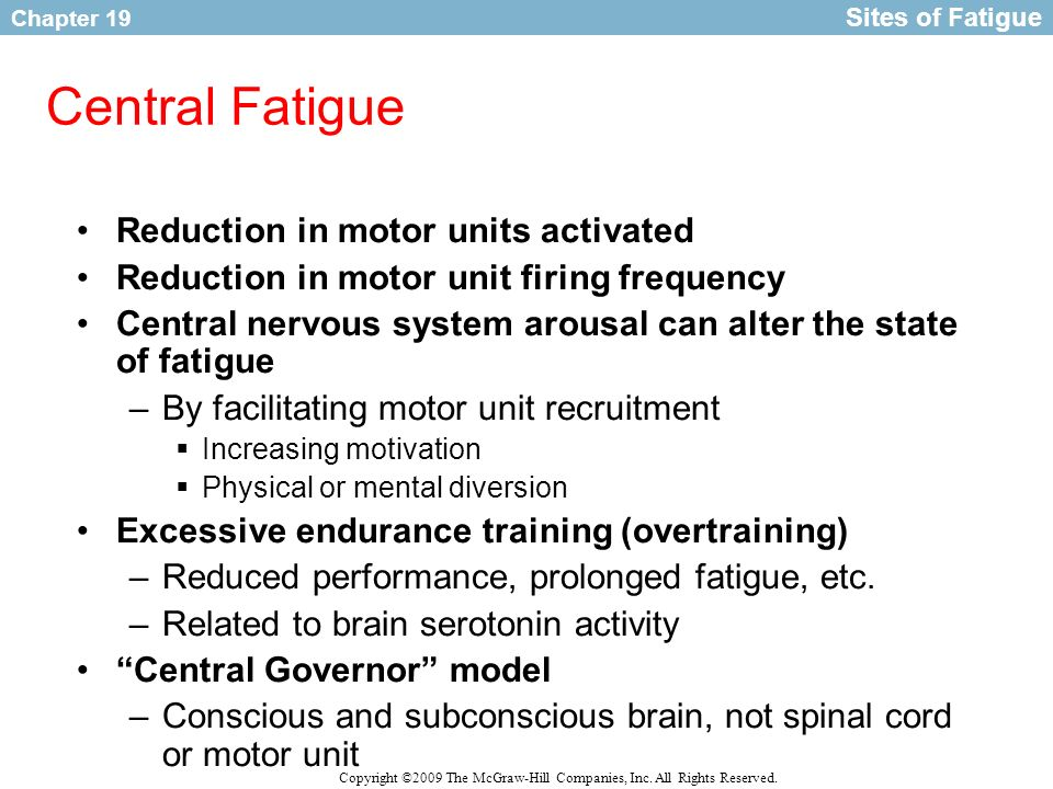 Central Fatigue Reduction in motor units activated