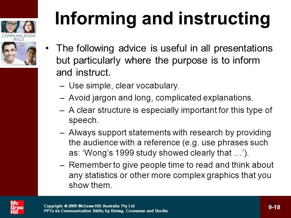 Informing and instructing