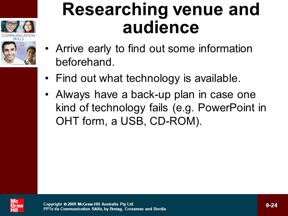 Researching venue and audience