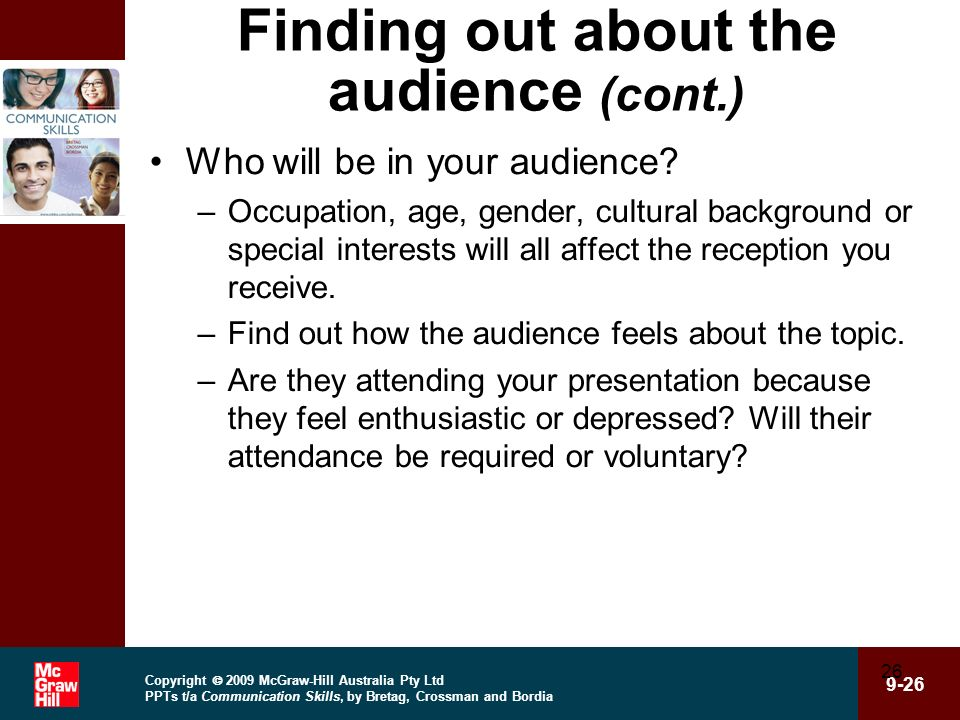 Finding out about the audience (cont.)