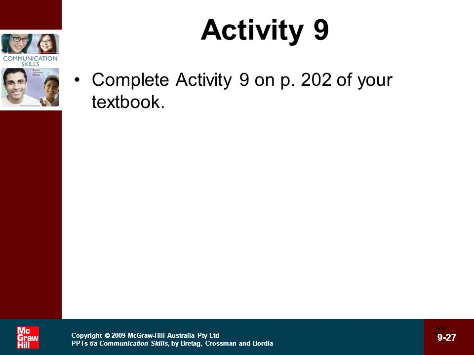 Activity 9 Complete Activity 9 on p. 202 of your textbook.