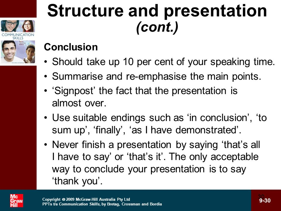 Structure and presentation (cont.)
