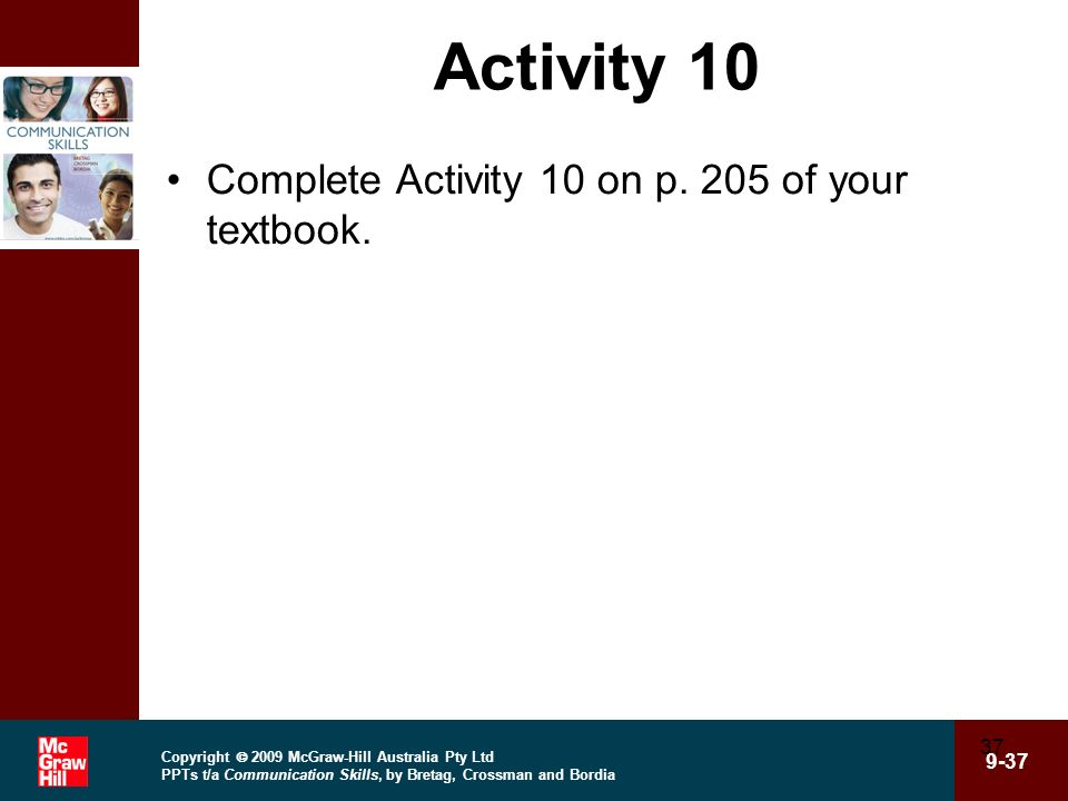 Activity 10 Complete Activity 10 on p. 205 of your textbook.