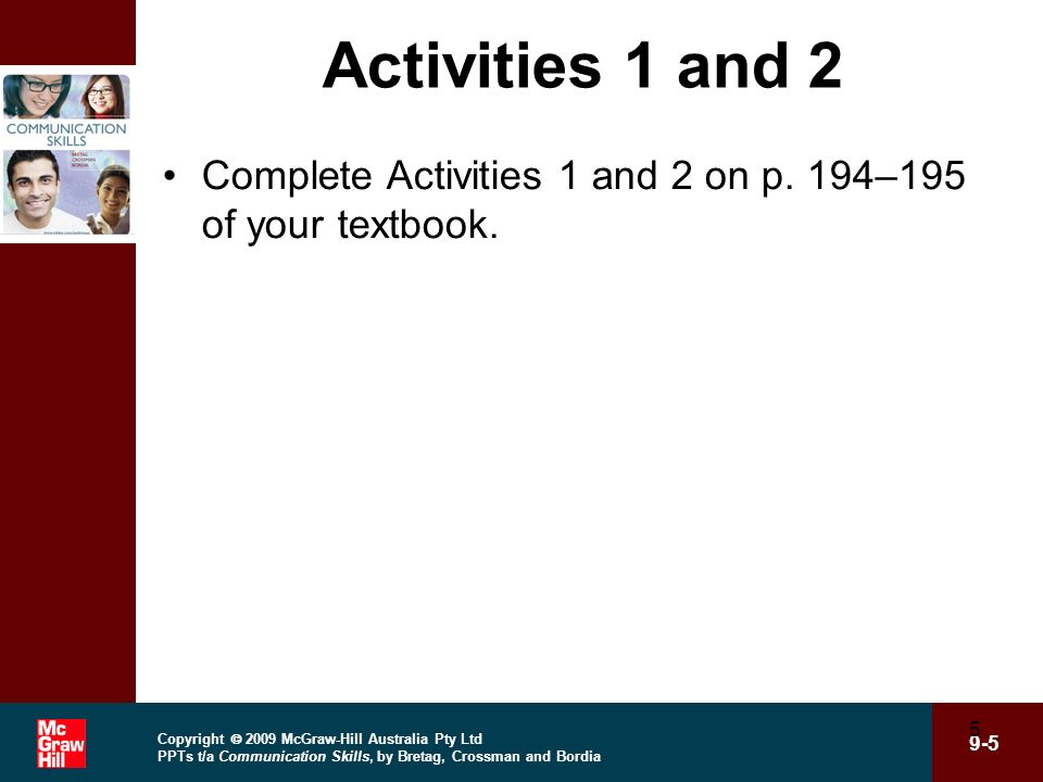 Activities 1 and 2 Complete Activities 1 and 2 on p. 194–195 of your textbook.