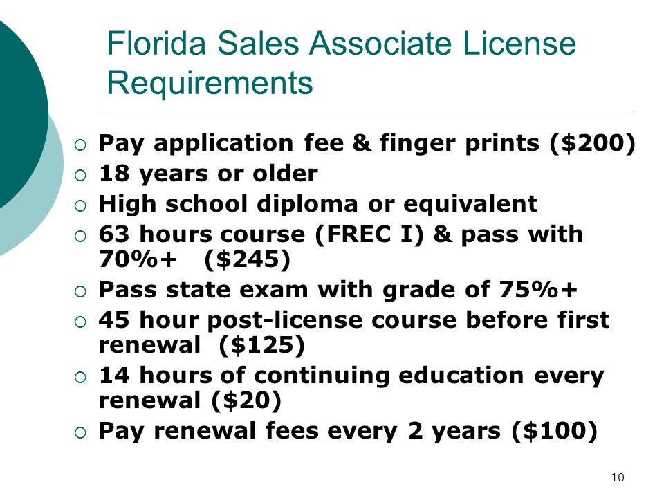 Florida Sales Associate License Requirements