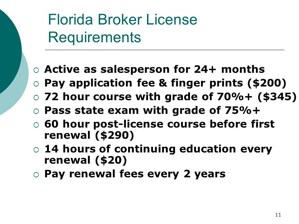 Florida Broker License Requirements