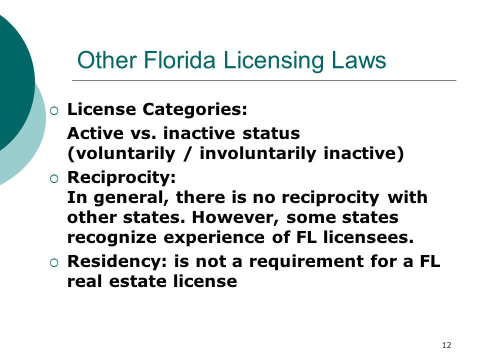 Other Florida Licensing Laws
