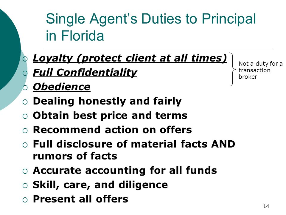 Single Agent's Duties to Principal in Florida