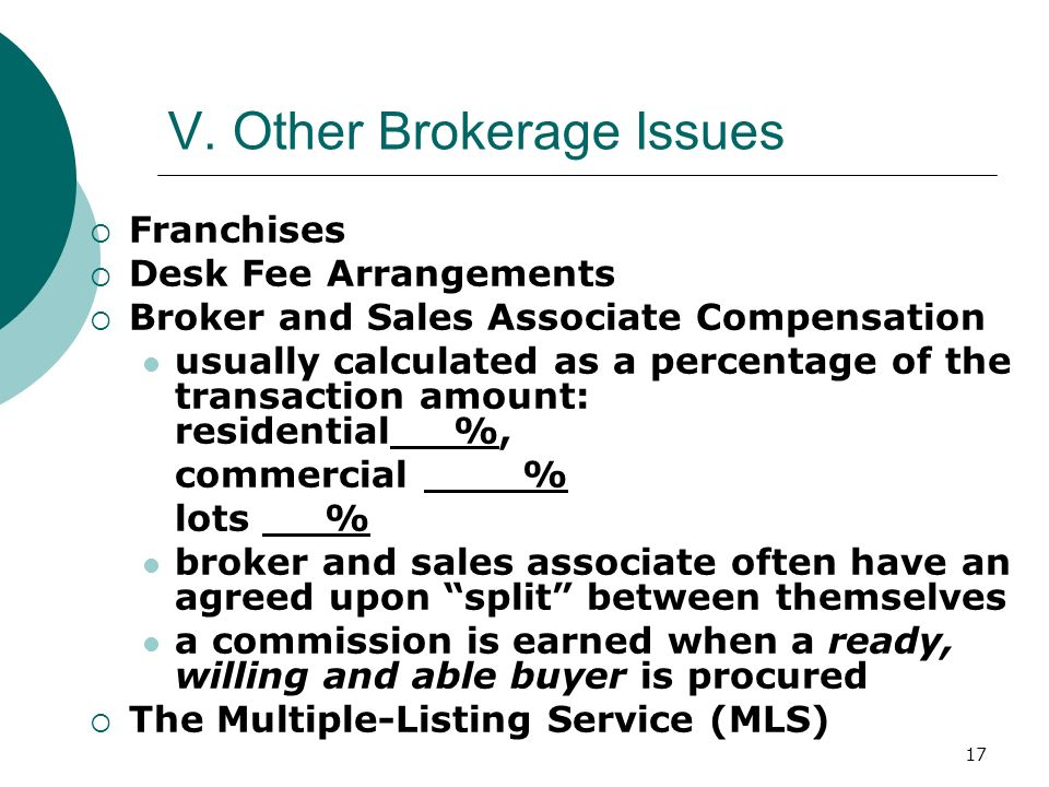 V. Other Brokerage Issues
