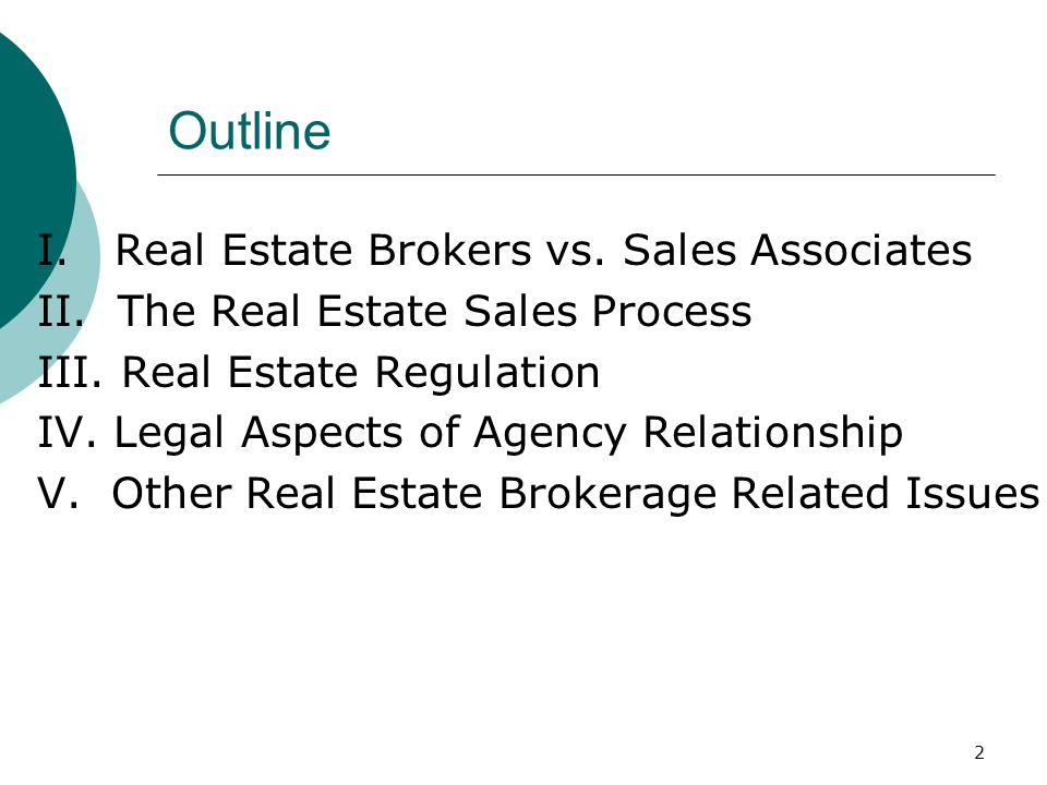 Outline I. Real Estate Brokers vs. Sales Associates