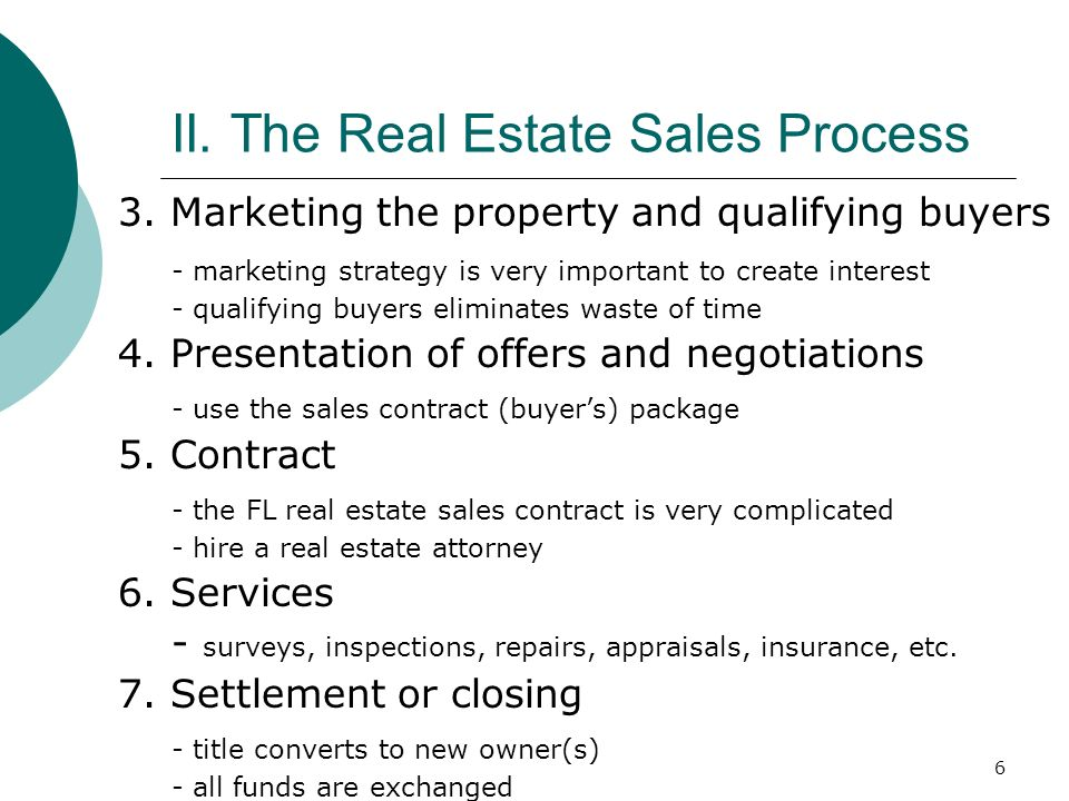 II. The Real Estate Sales Process