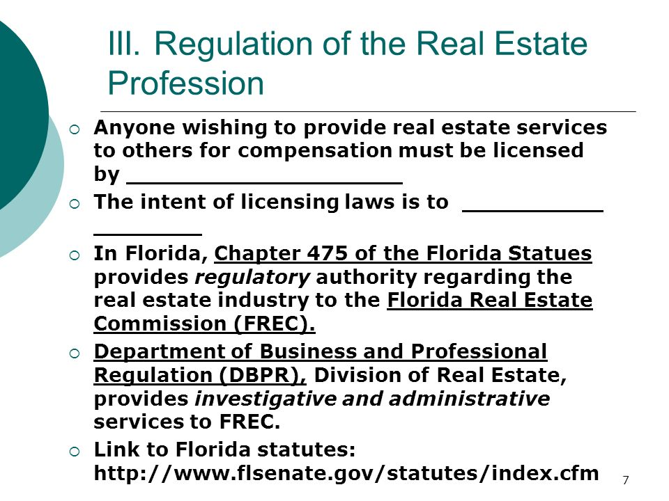 III. Regulation of the Real Estate Profession