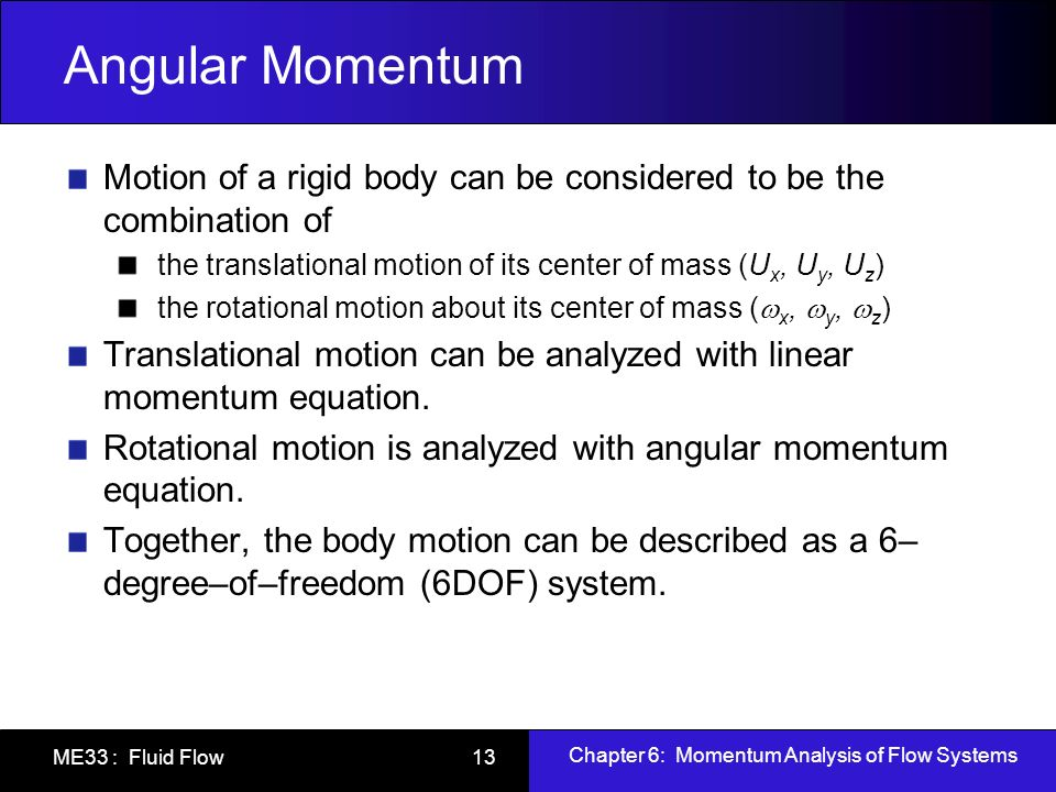 Angular Momentum Motion of a rigid body can be considered to be the combination of. the translational motion of its center of mass (Ux, Uy, Uz)