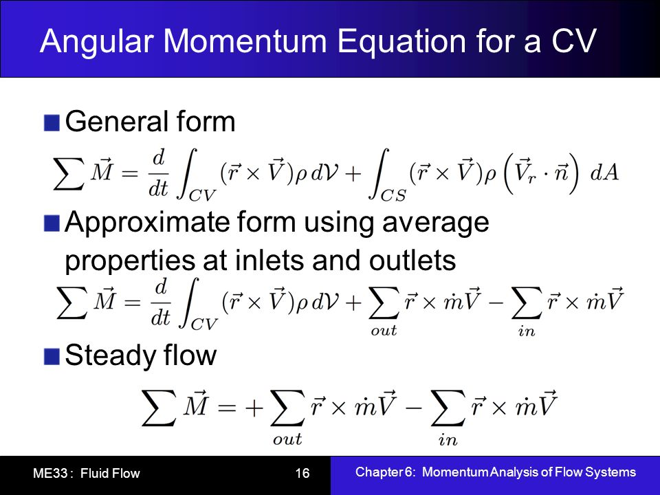 Angular Momentum Equation for a CV