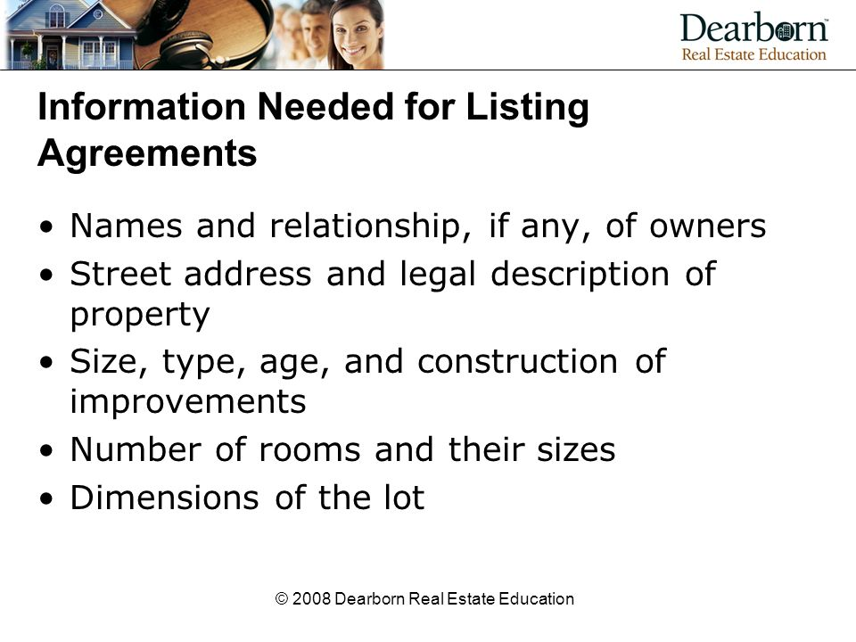 Modern real estate practice in illinois ppt video online download information needed for listing agreements platinumwayz