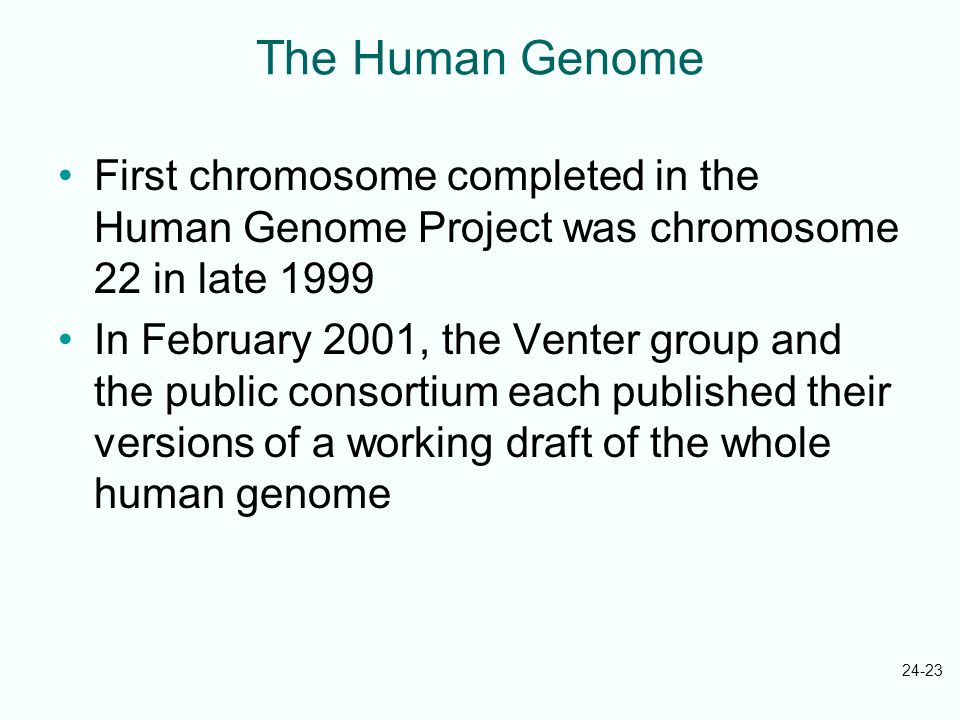 The Human Genome First chromosome completed in the Human Genome Project was chromosome 22 in late 1999.