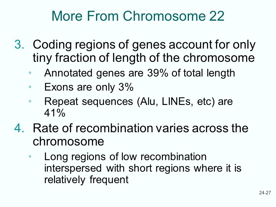 More From Chromosome 22 Coding regions of genes account for only tiny fraction of length of the chromosome.