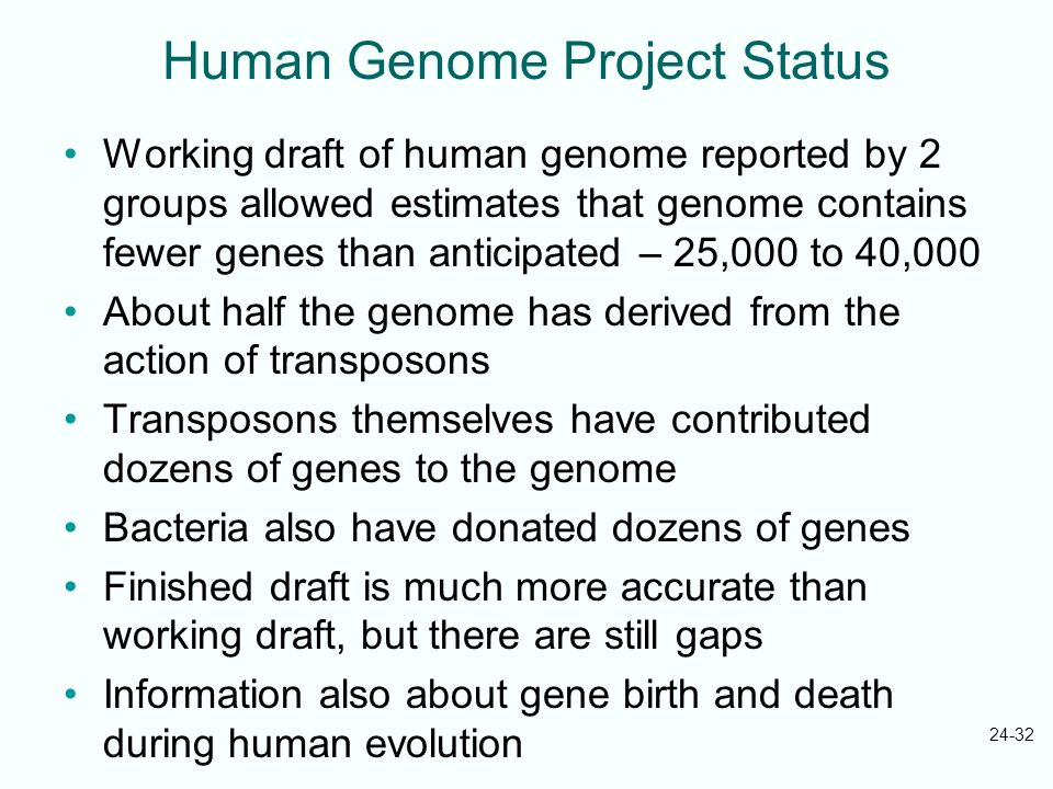 Human Genome Project Status