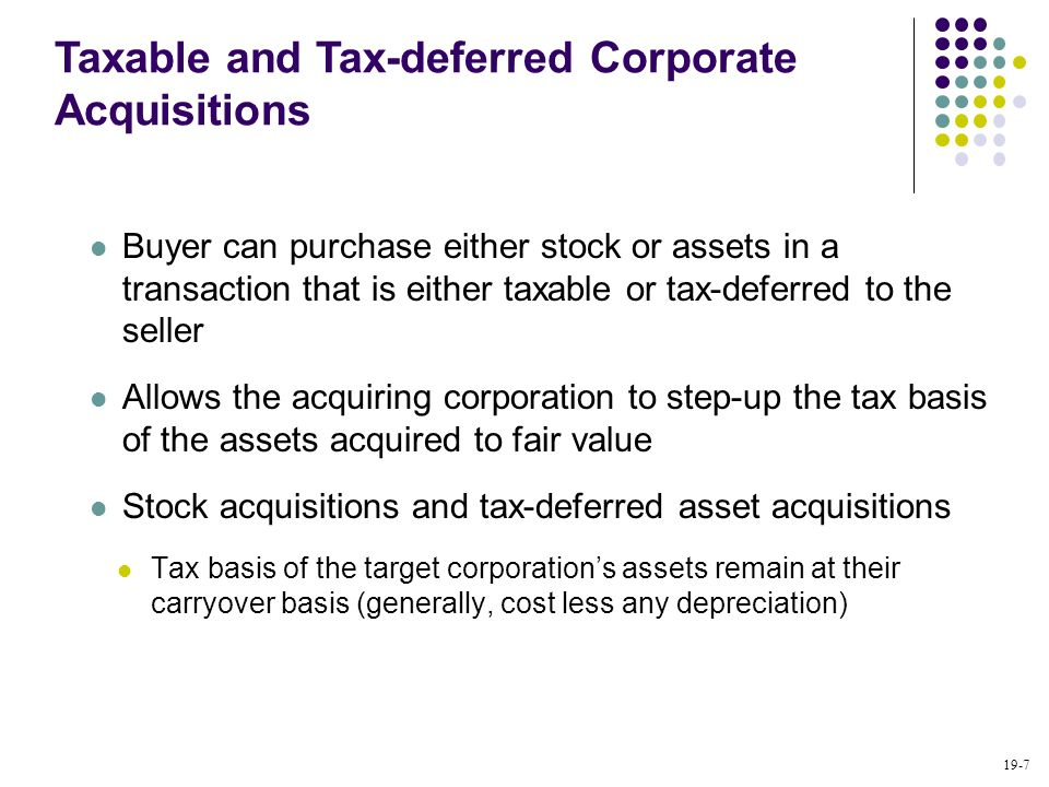Taxable and Tax-deferred Corporate Acquisitions