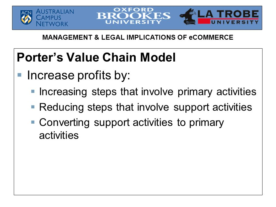 Porter's Value Chain Model Increase profits by: