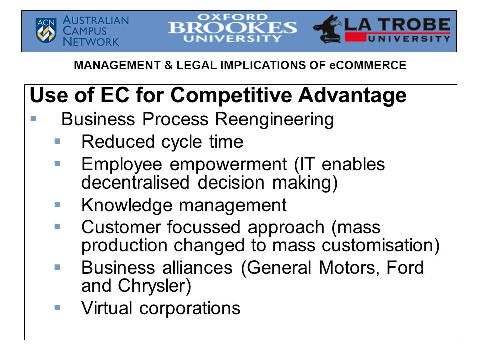 Use of EC for Competitive Advantage