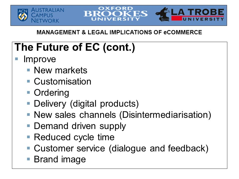 The Future of EC (cont.) Improve New markets Customisation Ordering