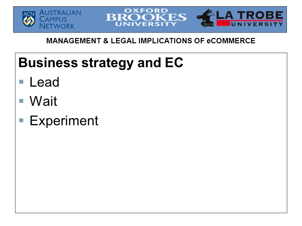 Business strategy and EC