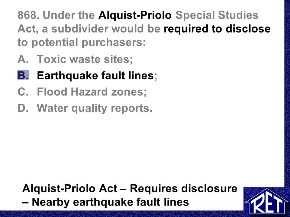 Seismic Hazards Disclosure: Alquist-Priolo Earthquake ...