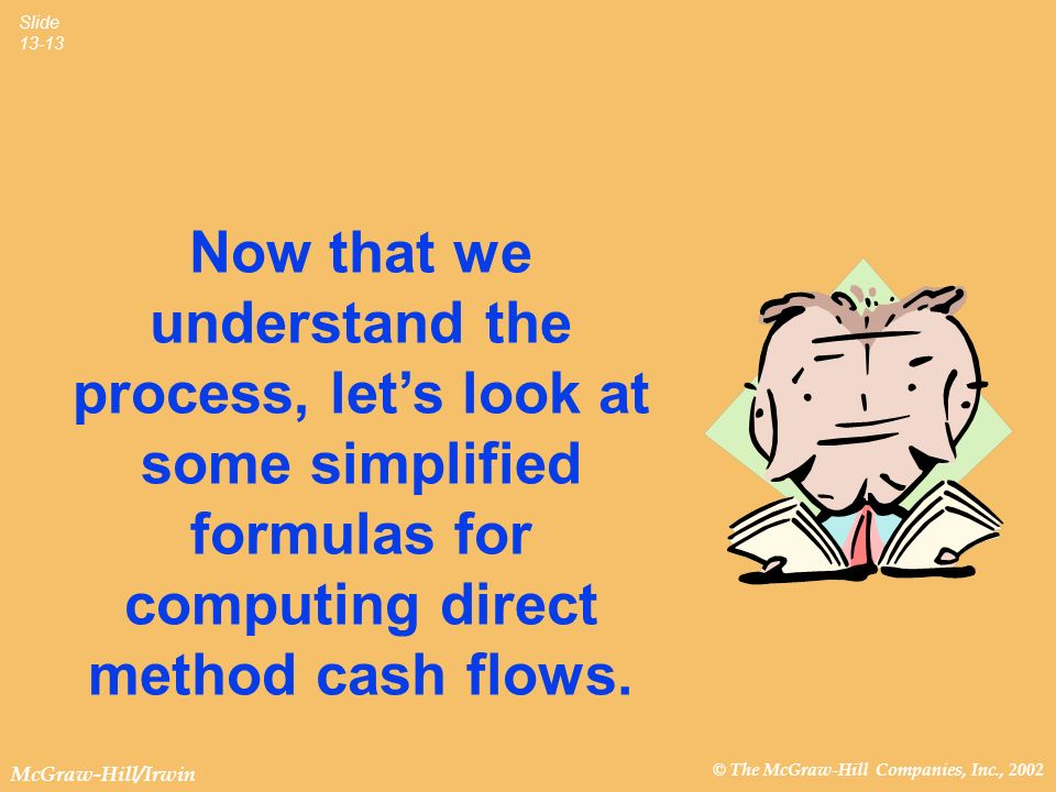 Now that we understand the process, let's look at some simplified formulas for computing direct method cash flows.