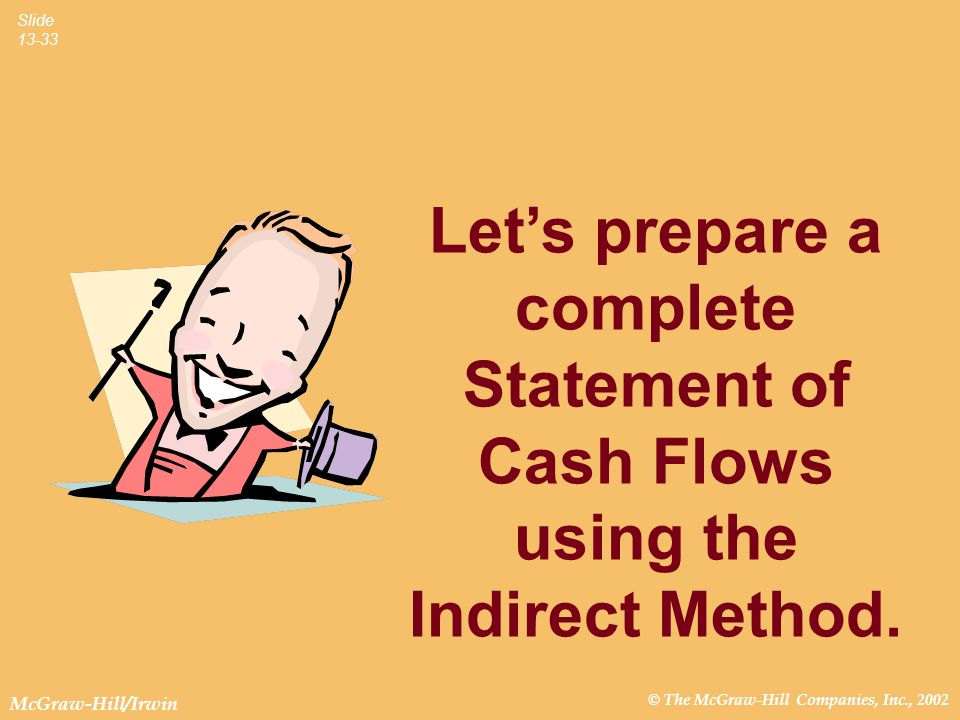 Let's prepare a complete Statement of Cash Flows using the Indirect Method.