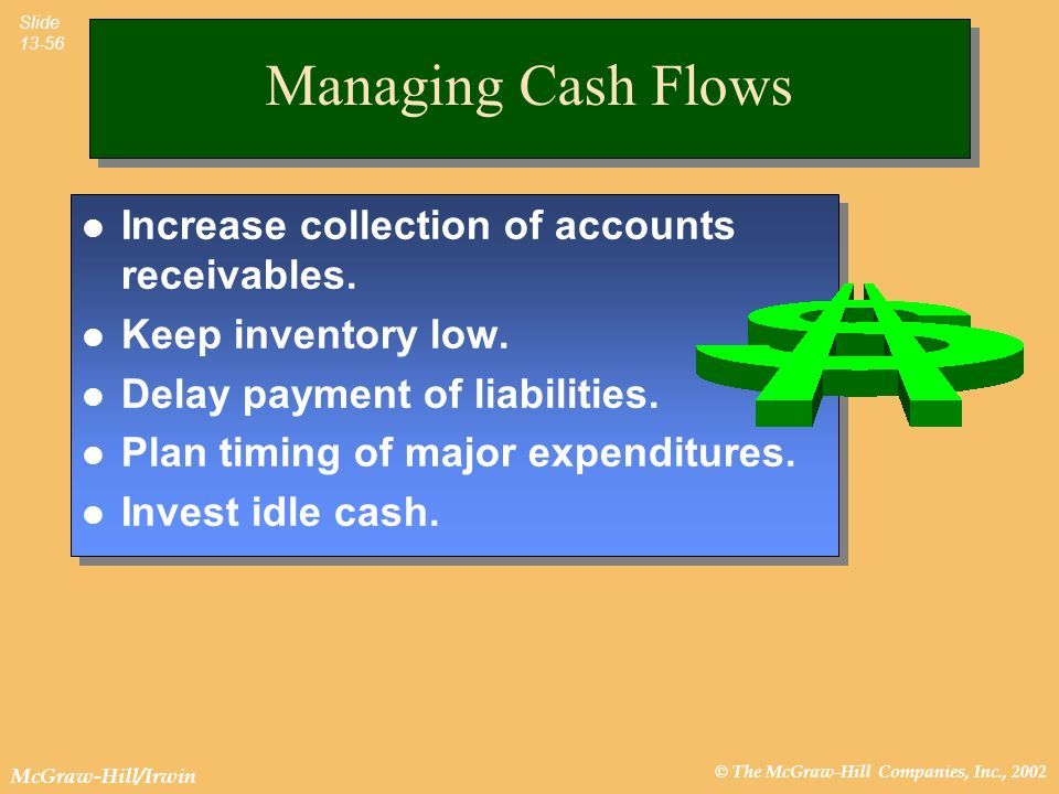 Managing Cash Flows Increase collection of accounts receivables.