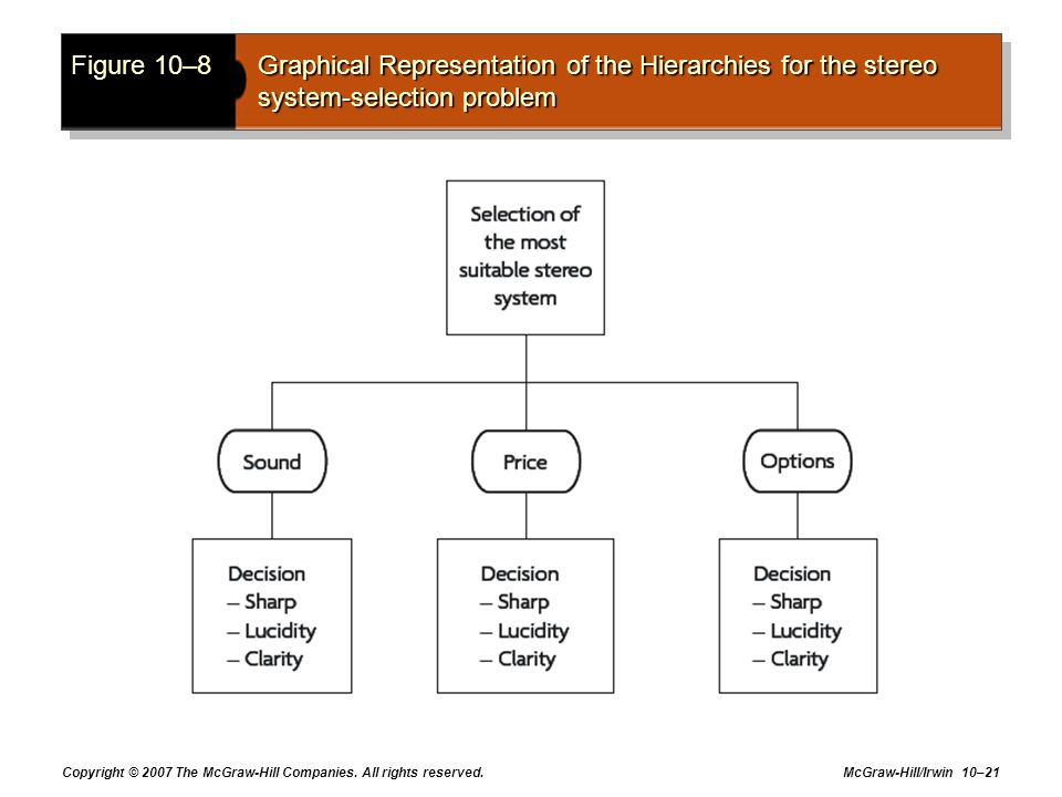 Figure 10–8 Graphical Representation of the Hierarchies for the stereo system-selection problem