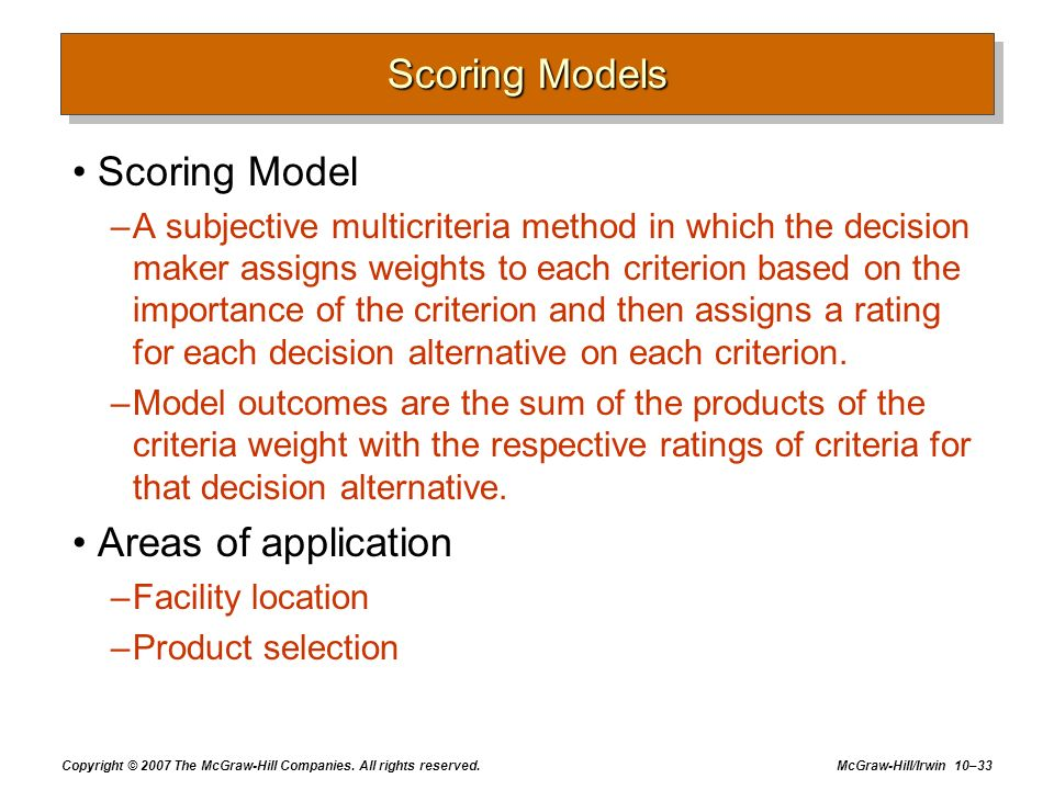 Scoring Models Scoring Model Areas of application