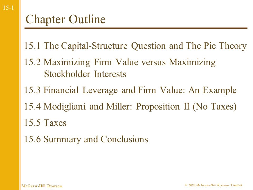 Chapter Outline 15.1 The Capital-Structure Question and The Pie Theory