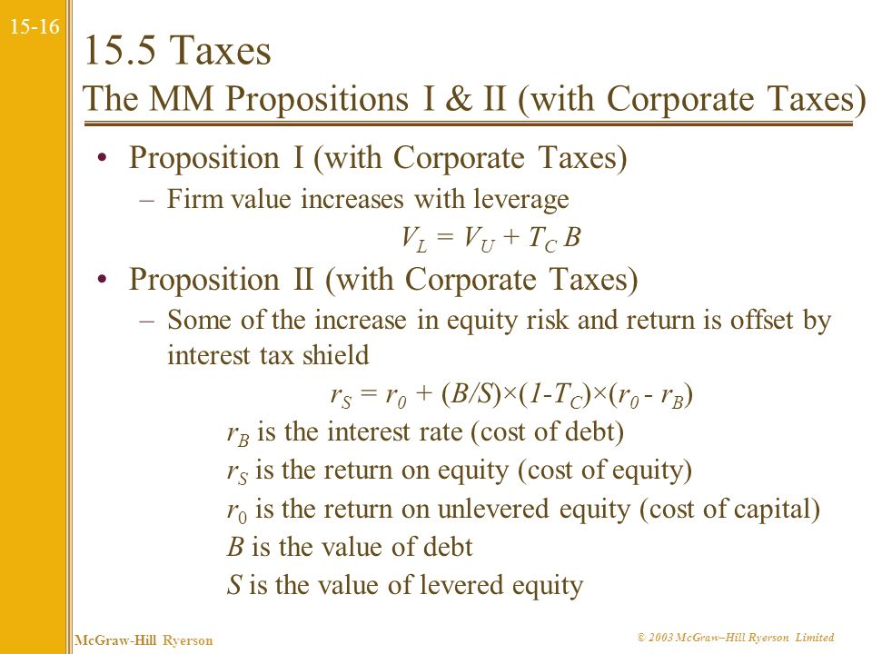 15.5 Taxes The MM Propositions I & II (with Corporate Taxes)