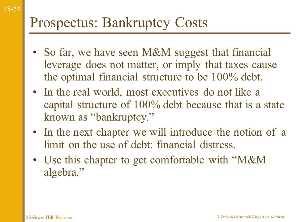 Prospectus: Bankruptcy Costs