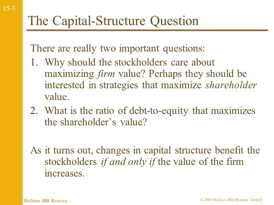 The Capital-Structure Question