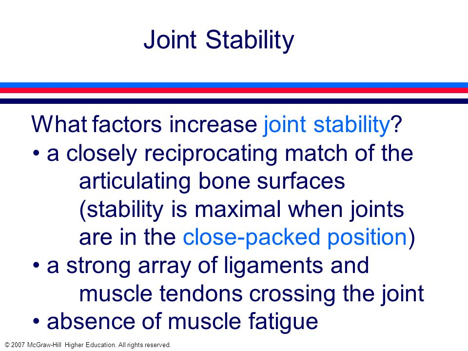 Joint Stability What factors increase joint stability