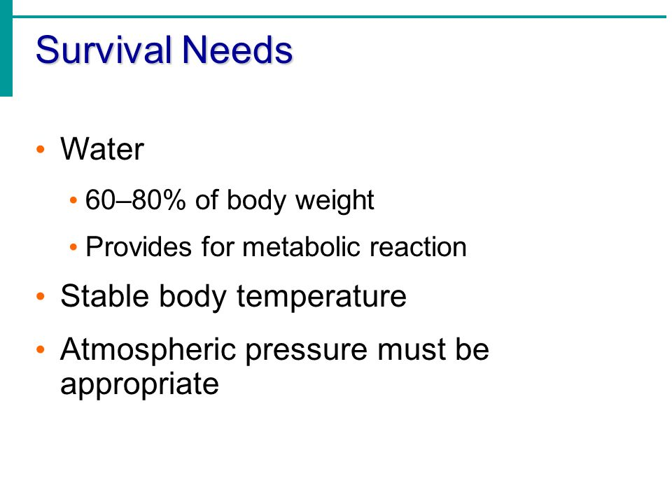 Survival Needs Water Stable body temperature