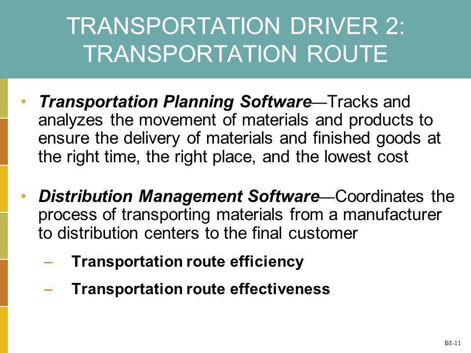 TRANSPORTATION DRIVER 2: TRANSPORTATION ROUTE